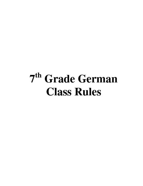 German Rules 7th Grade