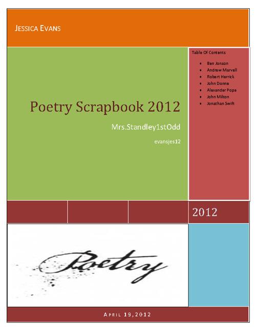 Poetry ScrapBook 2012