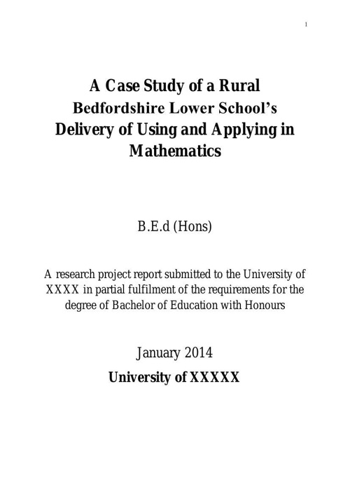 Dissertation: Exemplar 2 Mathematics