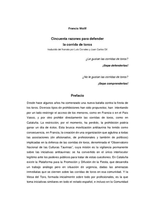 """""""50 razones para defender la corrida de toros"""" Francis Wolff"""