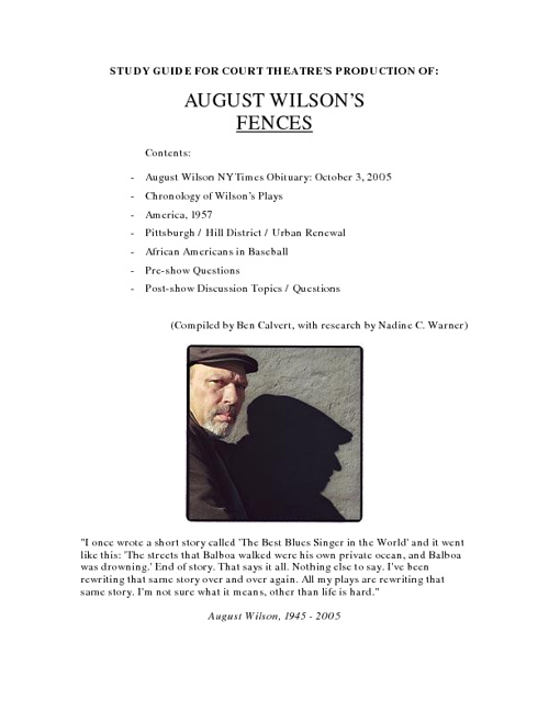 fences by august wilson essay example Fences by august wilson essay 533 words | 3 pages in the play fences, which was written by august wilson, bono, gabe, and alberta are.
