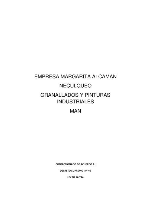 Antecedentes Laborales Empresa Granallados y Pinturas Industrial