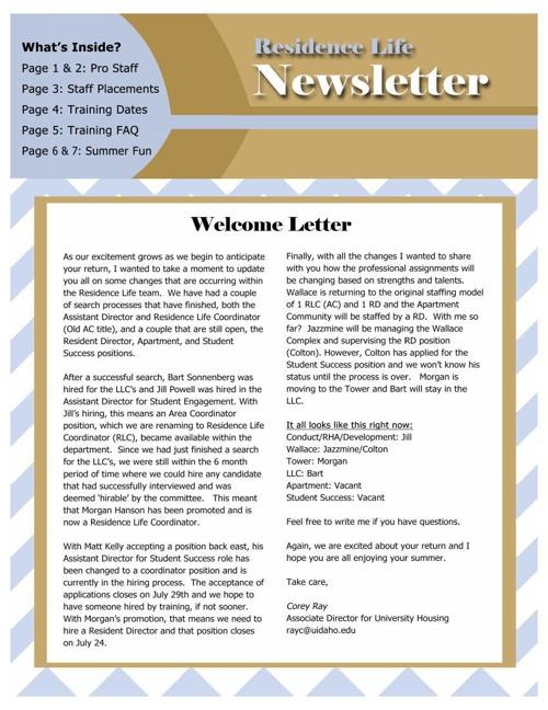 2014 Residence Life Newsletter