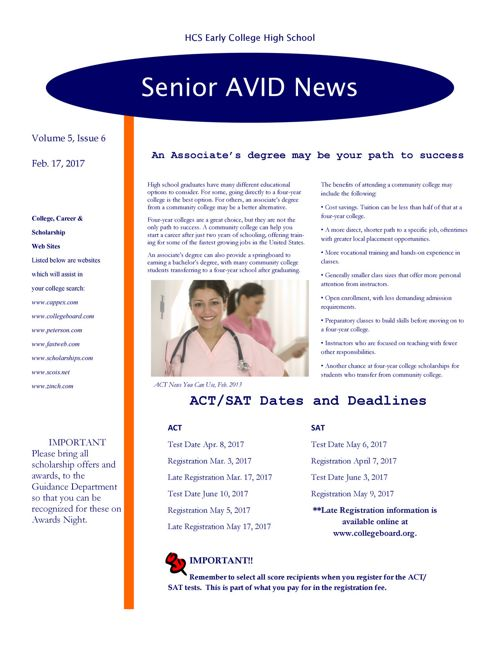 Senior Avid Newsletter #6 - Feb. 17