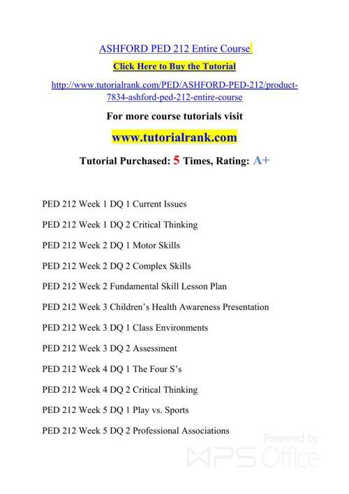 PED 212 Potential Instructors / tutorialrank.com