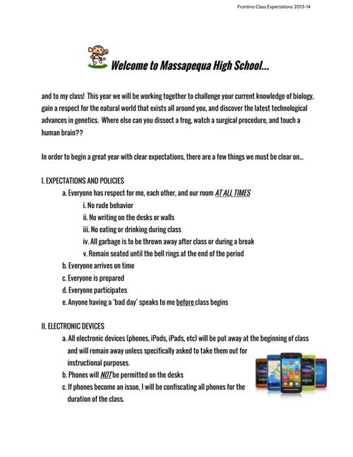 ClassroomExpectations2013-14RegentsBio