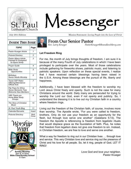 Messenger July 2014 Edition