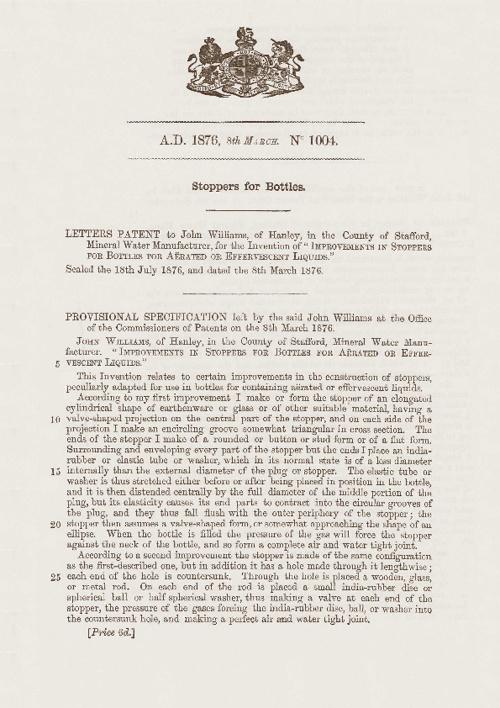 Patent GB1004/1876