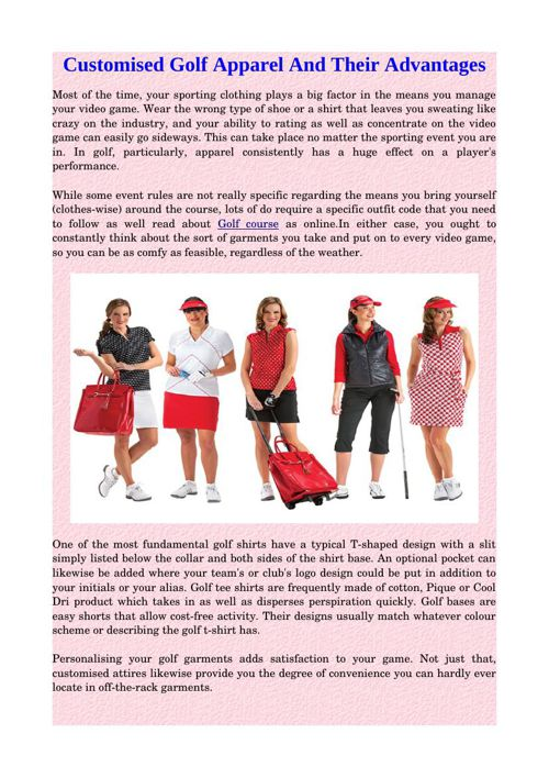 Customised Golf Apparel And Their Advantages