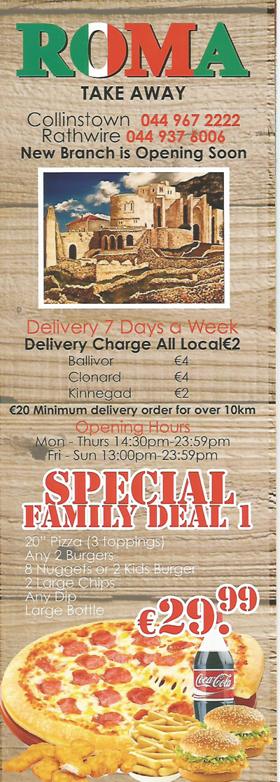 Roma Take Away Collinstown & Rathwire