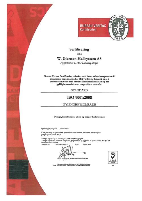 W.Giertsen Hallststem, ISO 9001-2008, Sentralgodkjenning, Startb