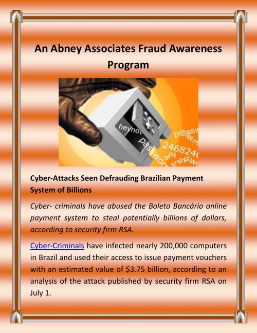 An Abney Associates Fraud Awareness Program