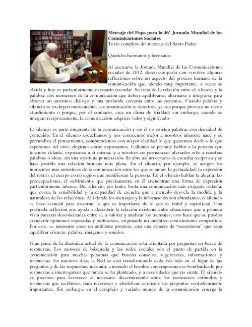 MENSAJE PARA LA JORNADA DE LAS COMUNICACIONES SOCIALES 2012