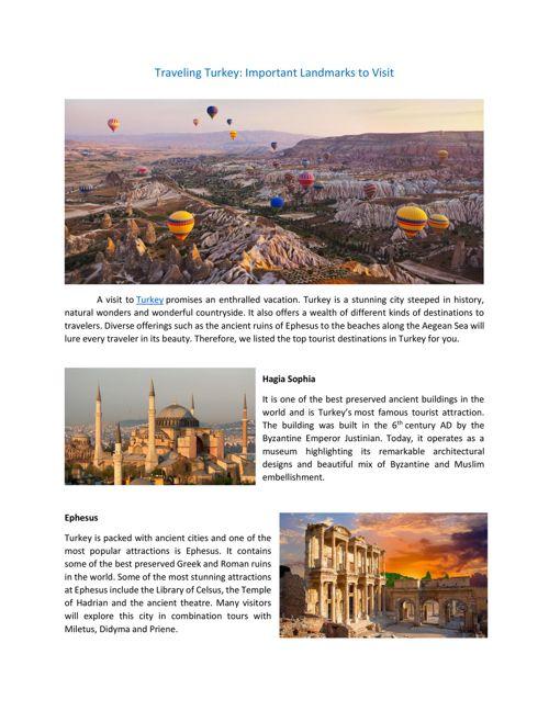 Traveling Turkey - Important Landmarks to Visit