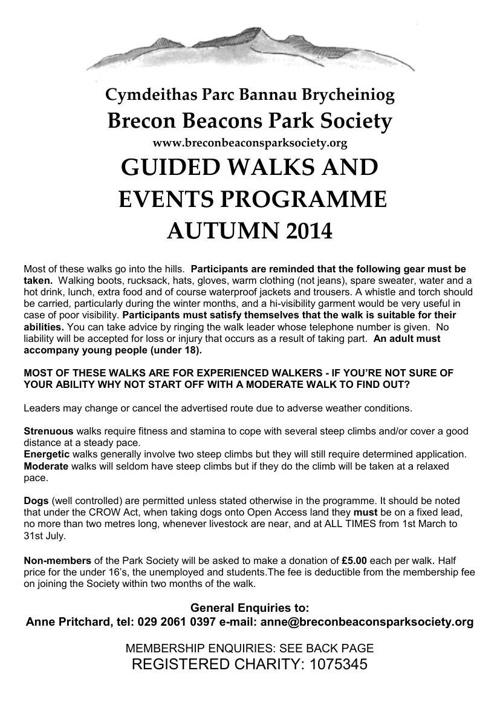 Autumn 2014 programme