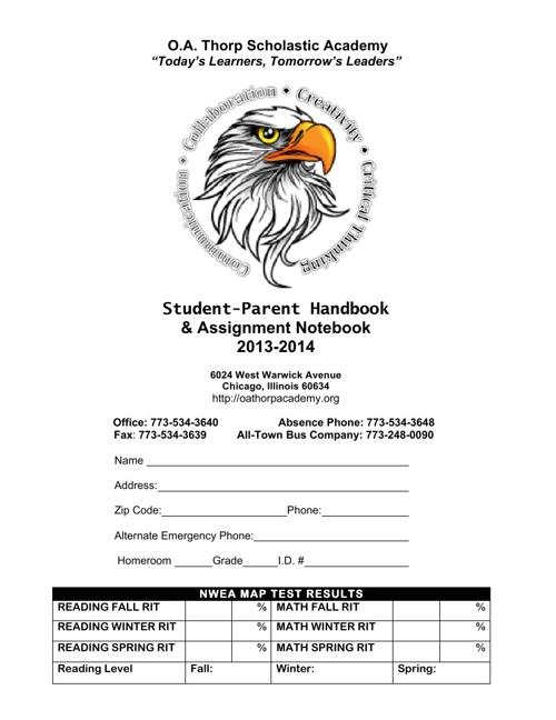 Thorp Scholastic Academy Parent-Student Handbook 2013-14
