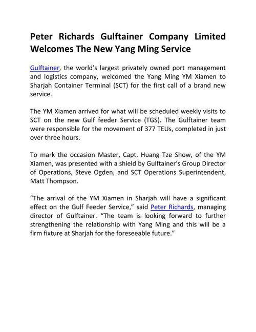 Peter Richards Gulftainer Company Limited Welcomes The New Yang
