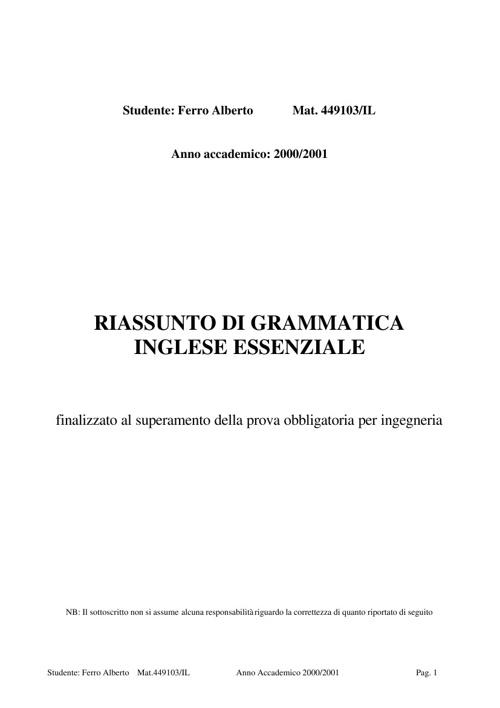 Grammatica Inglese Essenziale