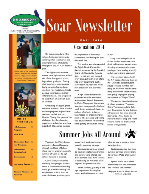 Soar Learning Center Fall 2014 Newsletter