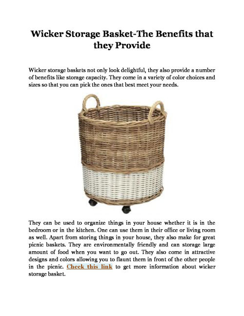 Wicker Storage Basket-The Benefits that they Provide