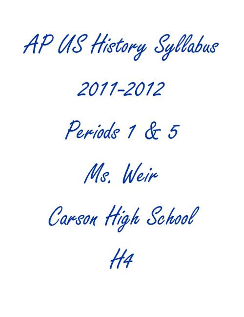 AP US History Syllabus 2011-2012