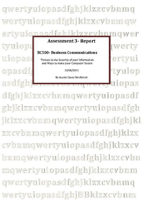 My Report Jess Sandbrook