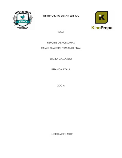REPORTE DE ASESORIAS - FISICA I