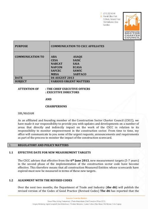CSCC Letter to AFFILIATES - 05 August 2013