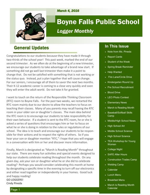 March 4, 2016 Logger Monthly