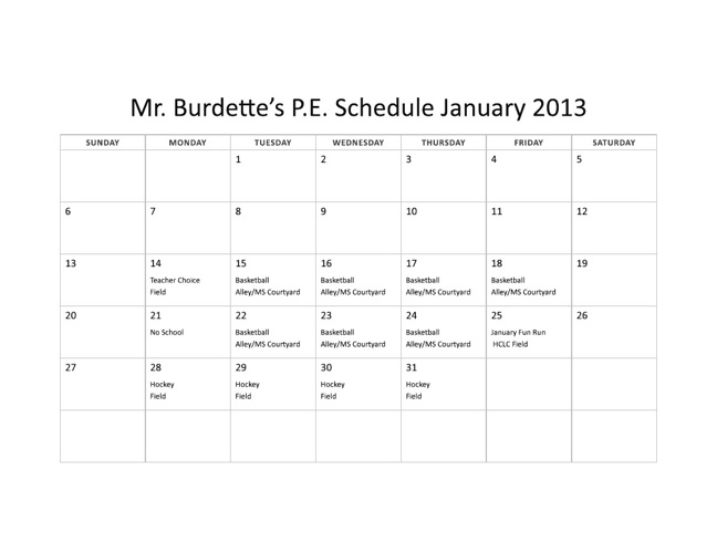 Mr. Burdette's 3rd Quarter Calendar
