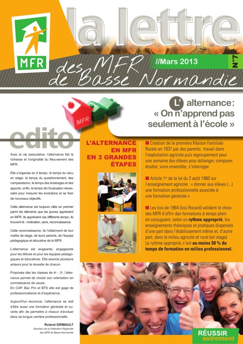 La lettre des MFR de Basse-Normandie - n°7 - Mars 2013
