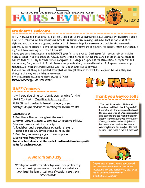 Fall 2012 UAFE Newsletter