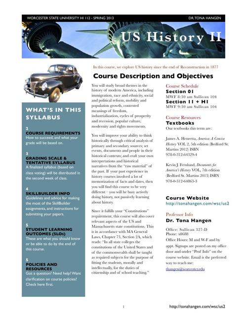 HI 112 US History II Spring 2013