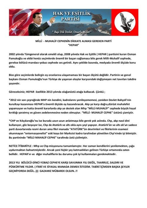 HEPAR ( HAK VE EŞİTLİK PARTİSİ ) HAKKINDA