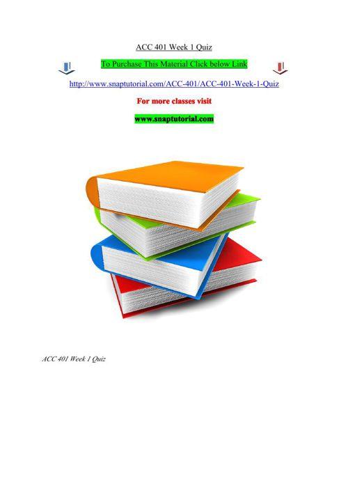 ACC 401 Week 1 Quiz