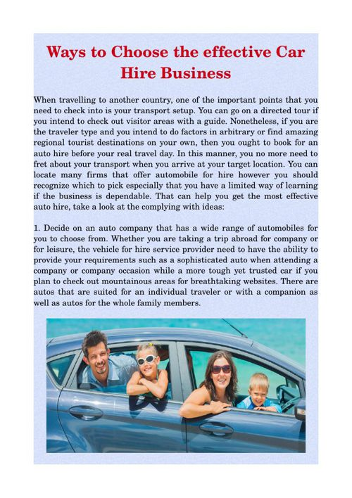 Ways to Choose the effective Car Hire Business
