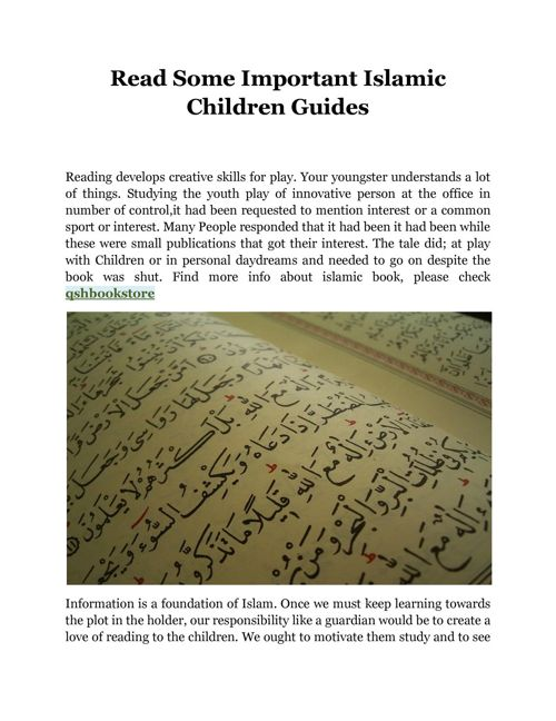 Read Some Important Islamic Children Guides