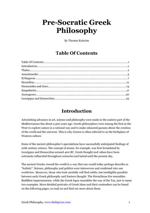 Greek Philosophy - Thomas Knierim