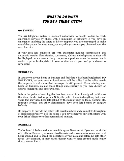 What To Do When You're A Crime Victim