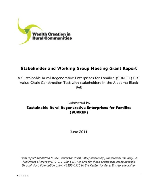 RUPRI Stakeholder and Working Group Meeting Report
