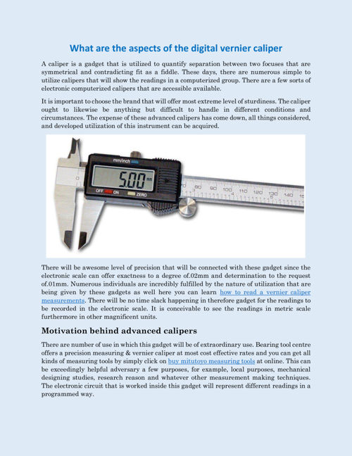 What are the aspects of the digital vernier caliper