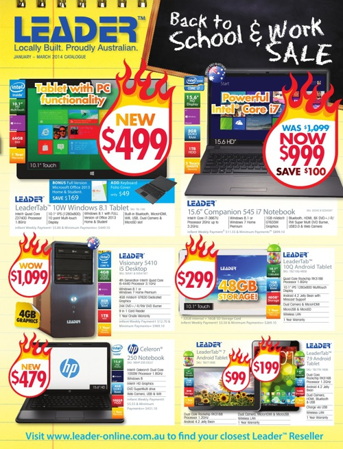 "Leader Computers ""Back to School & Work Sale"" Catalogue"