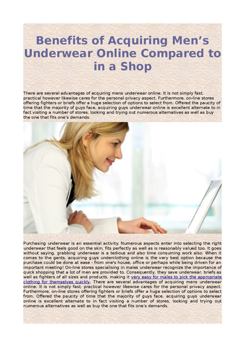 Benefits of Acquiring Men's Underwear Online Compared to in a Sh