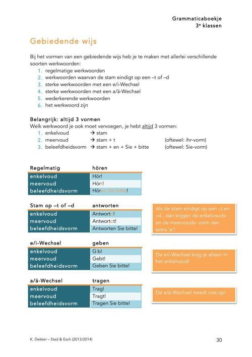 3e klassen - grammaticalijn (K. Dekker)deel3