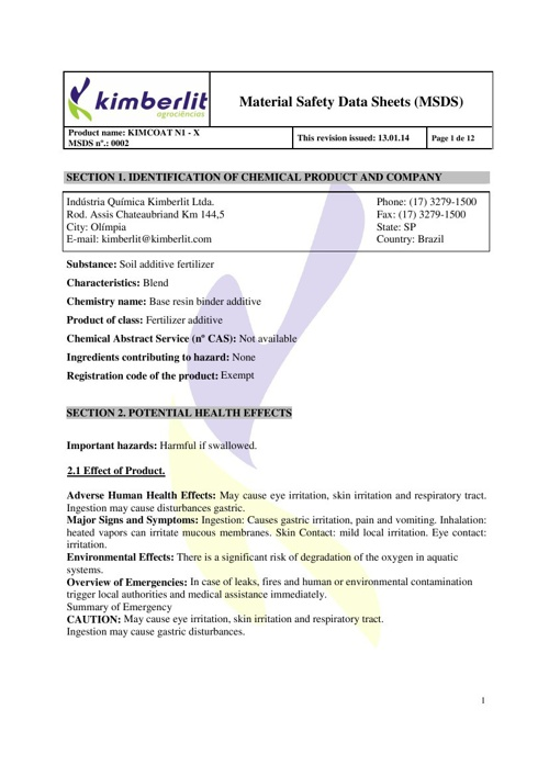 FISPQ - 0002 kimcoat N1 - X