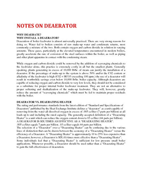 Notes on Deaerator