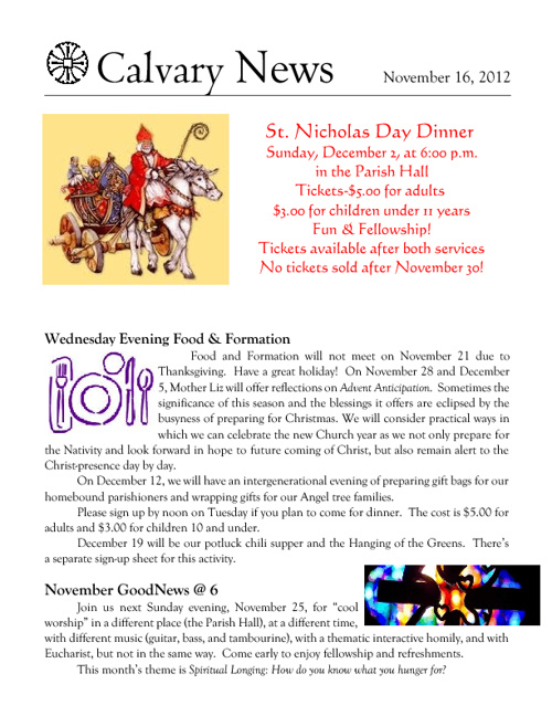 16 November 2012 Calvary Episcopal Newsletter