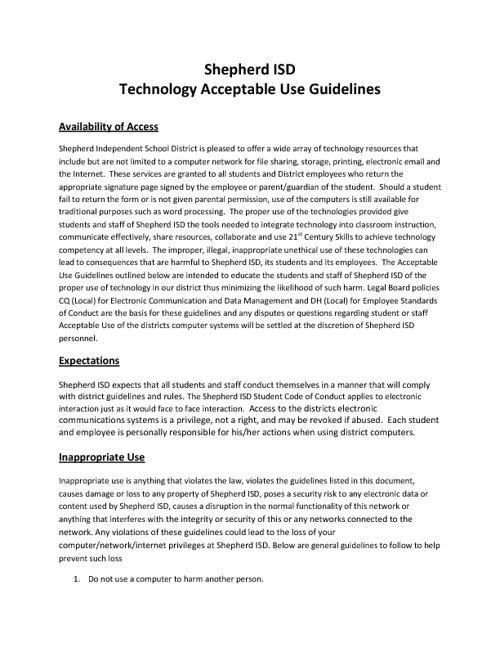 SISD Acceptable Use Guide