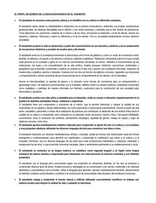 EL PERFIL DE EGRESO DE LA EDUCACIÓN BÁSICA ES EL SIGUIENTE