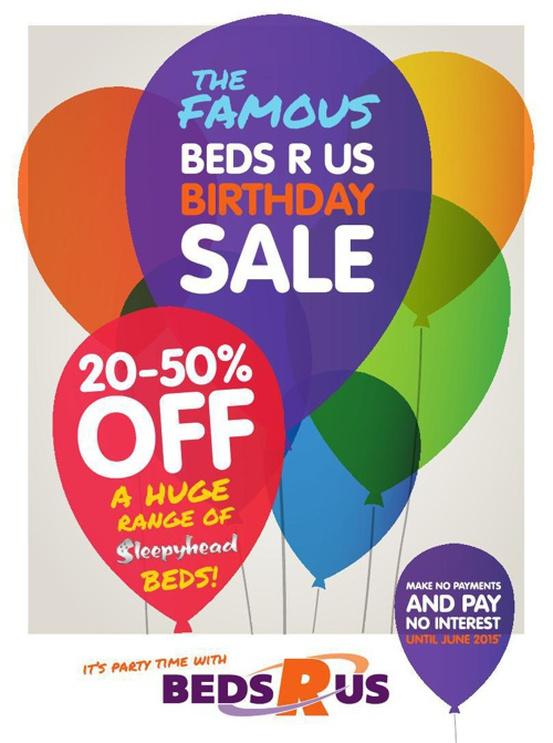 Beds R Us - Famous Birthday Sale - June 2014